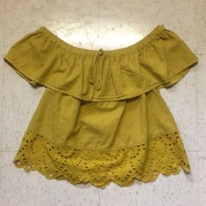 Mustard color off the shoulder blouse
